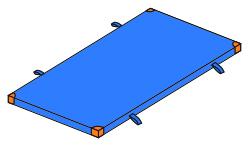 Bänfer Gerätturnmatte Standard mit Lederecken/Trageschlaufen in blau