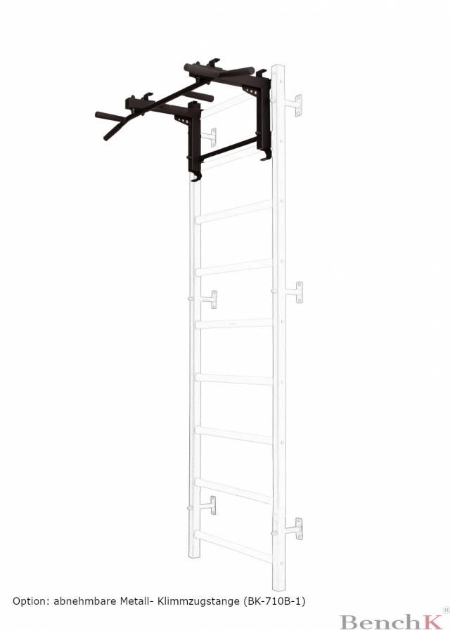 BenchK 312 Sprossenwand - 9 Sprossen - inkl. Metall-Klimmzugstange + Dip bar