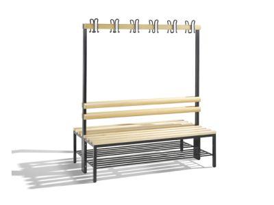 C+P Möbel Doppelseitige Umkleidebank mit Schuhrost (150cm x 75,6cm x 165cm)