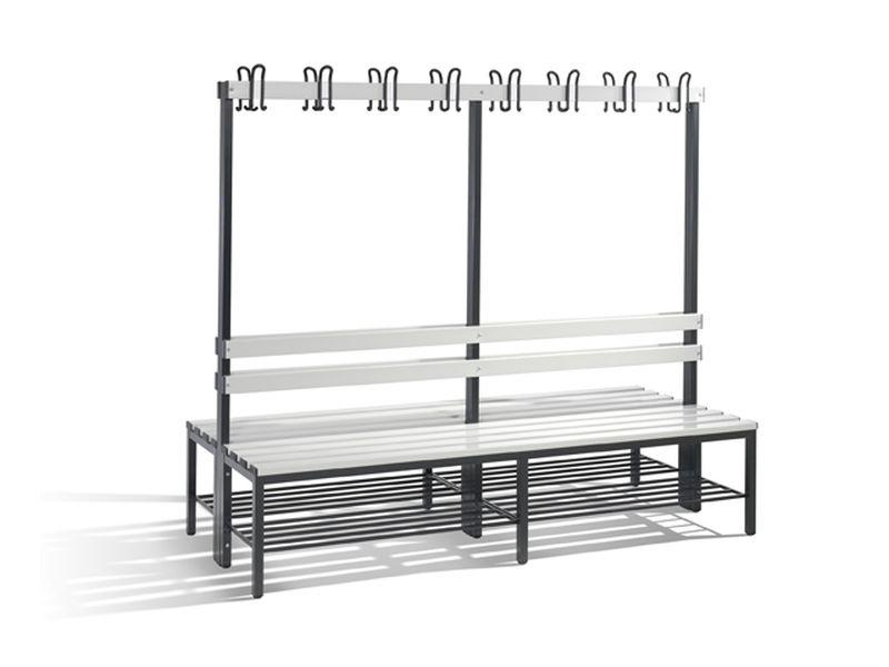 C+P Möbel Doppelseitige Umkleidebank mit Schuhrost (200cm x 75,6cm x 165cm)