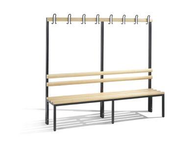 C+P Möbel Einseitige Umkleidebank (200cm x 40,3cm x 165cm)
