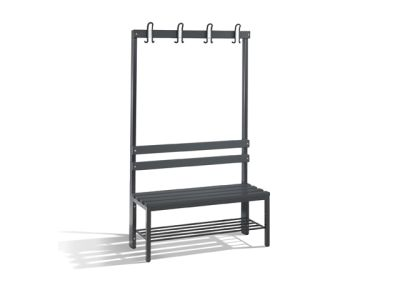 C+P Möbel Einseitige Umkleidebank mit Schuhrost (100cm x 40,3cm x 165cm)