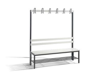 C+P Möbel Einseitige Umkleidebank mit Schuhrost (150cm x 40,3cm x 165cm)