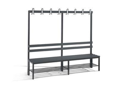 C+P Möbel Einseitige Umkleidebank mit Schuhrost (200cm x 40,3cm x 165cm)