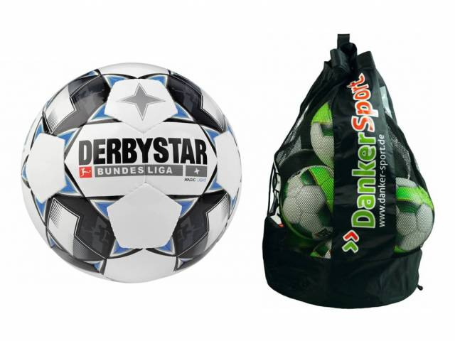 Derbystar Bundesliga Magic Light + Danker Sport Ballsack, 10 Stück