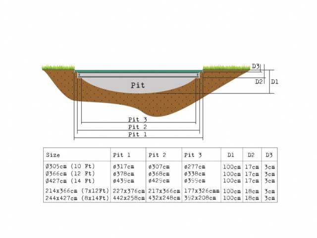 EXIT Gartentrampolin InTerra Ground Level 305 cm