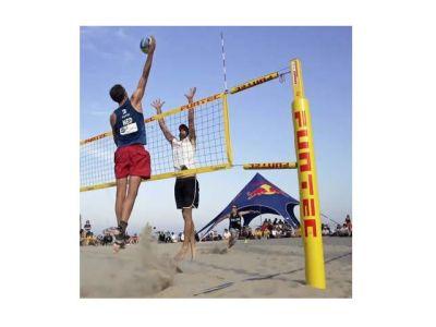 Funtec Beachvolleyball Netzpfosten Pro Beach mit Bodenhülsen für Fundamente