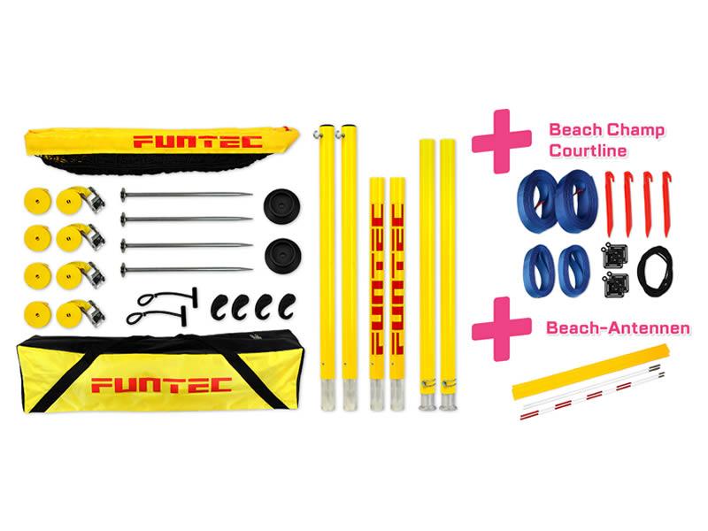 Funtec Pro Beach Set inkl. Spielfeldmarkierung + Netzantennen
