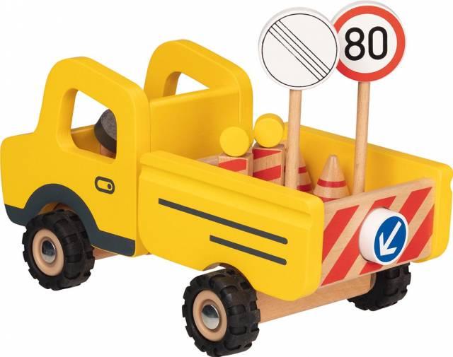 goki Baustellenfahrzeug mit Verkehrsschildern
