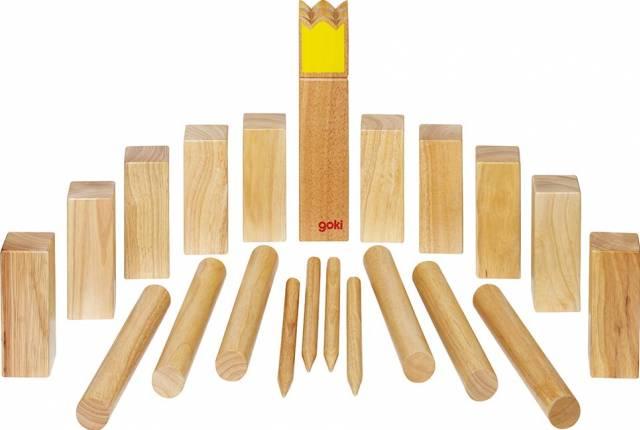 goki Wikingerspiel Kubb, Krone gelb, im Bauwollbeutel