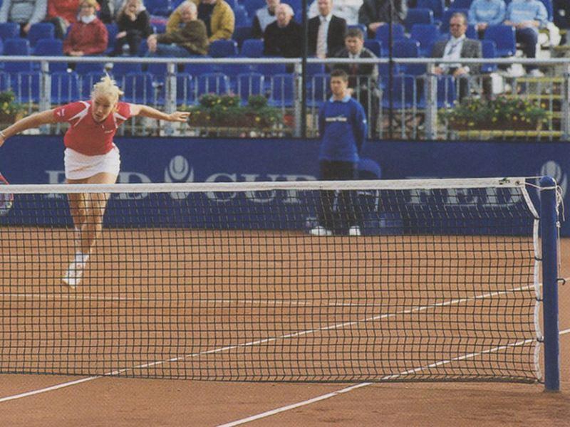 Huck Tennisnetz, PE-Flechtleine 3 mm (handgestrickt) mit Doppelreihen