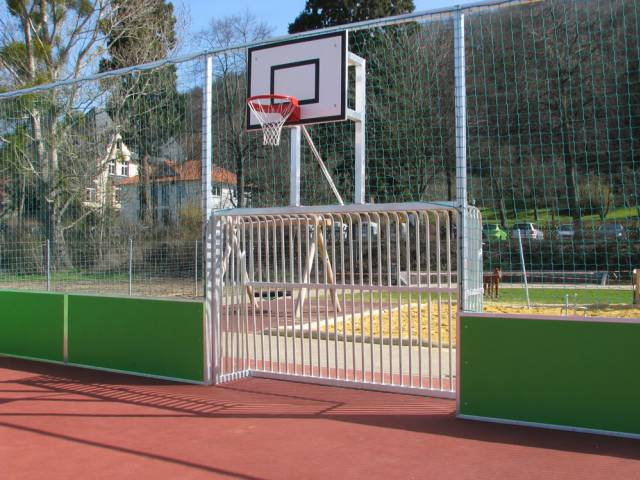Jobasport Bolzplatz-Tor 3 x 2 m inkl. Basketballaufsatz - Profil 120 x 100 mm (oval)