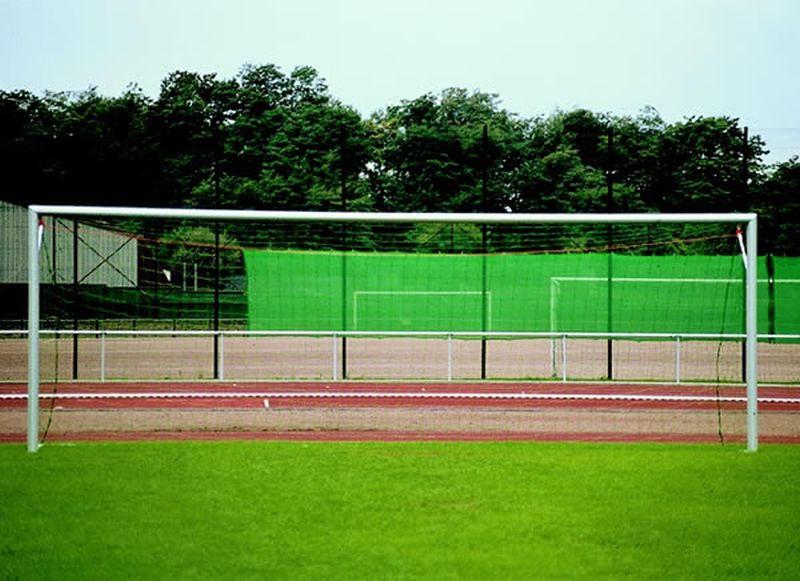 Jobasport Fußballtor - 7,32 x 2,44 m, in Bodenhülsen eckverschweißt, DIN/GS, freie Netzaufhängung